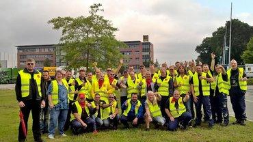 Streik im Edeka Lager Wiefelstede zur Tarifrunde im Genossenschaftlichen Großhandel
