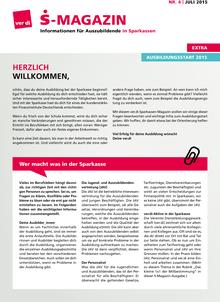 S-Magazin für Auszubildende in den Sparkassen (04/2015)