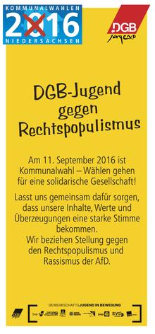 Faltblatt: DGB-Jugend gegen Rechtspopulismus