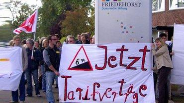 Menschen mit Transparent (Aufschrift: Jetzt Tarifverträge) vor Eingang der Diakonie-Einrichtung in Friedehorst