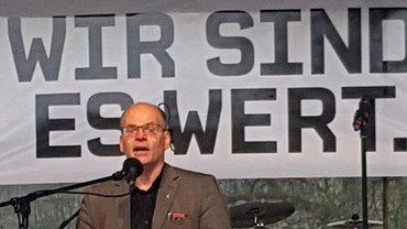 Auf der Streikkundgebung er öffentlichen Dienstleister in Hannover am 12. April 2018