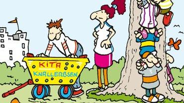 Illustration, Erzieherinnen mit Bollerwagen