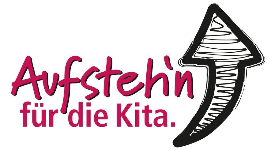 Logo: Mehr Zeit und Personal. Aufsteh'n für die Kita. Für uns. Für die Kinder