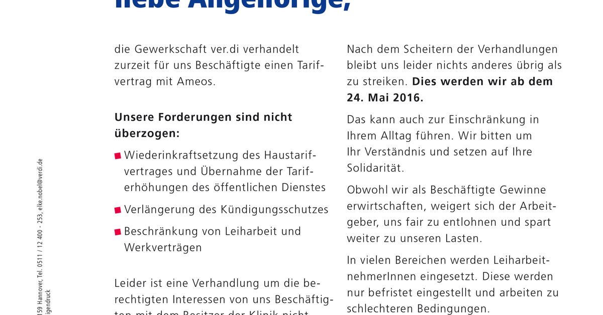 Patienteninfo Zum Streik Bei Ameos