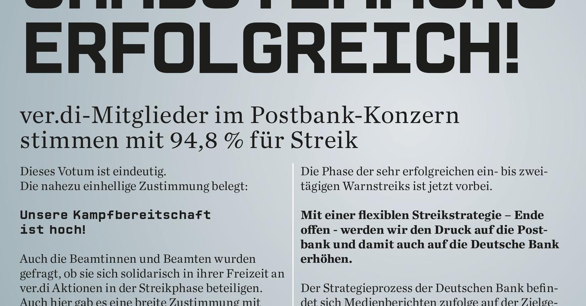 Tarifkonflikt Bei Der Postbank: 94,8 Prozent Der