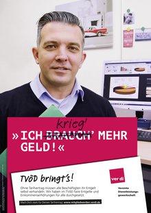 """Plakat TVÖD Verwaltung: """"Chef, ich brauch' (krieg') mehr Geld!"""""""