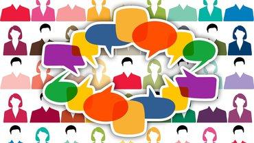 Versammlung Gespräch Diskussion Illustration Köpfe Unterhaltung