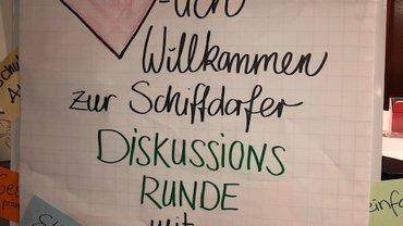 Einladungsplakat zur Diskussionsrunde in Schiffdorf