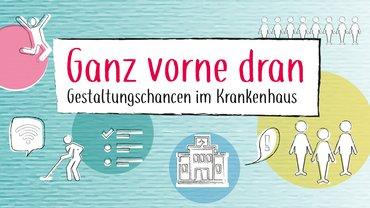 """Titelbild Krankenhaustagung 2019 mit Schrift """"Ganz vorne dran"""""""
