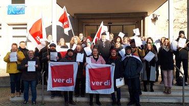 Aktion der Beschäftigten von pro familia Niedersachsen am 05.12.2019