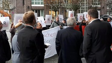 Protest bei BCD Travel Germany in Braunschweig