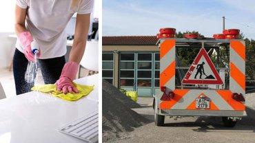 Eine Frau wischt einen Schreibtisch ab und ein Baufahrzeug auf einem Bauhof