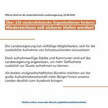 Über 130 niedersächsischen Organisationen fordern in einem Offenen Brief: Niedersachsen soll Sicherer Hafen werden!