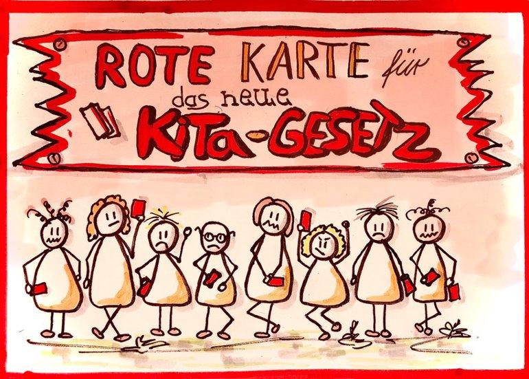 Illustration: Rote Karte für das neue Kita-Gesetz
