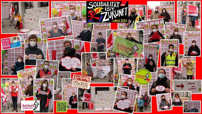 Viele Kolleg*innen zeigen eine Rote Karte für das NICHT-GUTE-KITA-GESETZ in Niedersachsen.