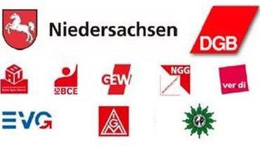 Logos von verschiedenen Gewerkschaften, DGB und Niedersachsen-Wappen