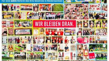 Bildcollage der Aktionsfotos von den Aktionen gegen das nds. Kita-Gesetz