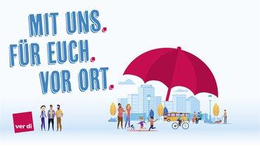 gezeichnetes Kampagnenlogo, symbolisiert den Rettungsschirm für die Kommunen